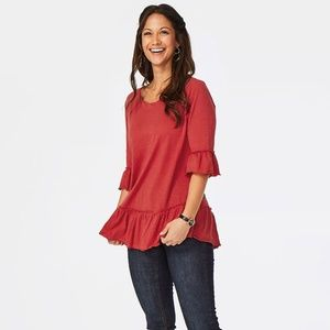 Matilda Jane Rule the Day red tunic top L new